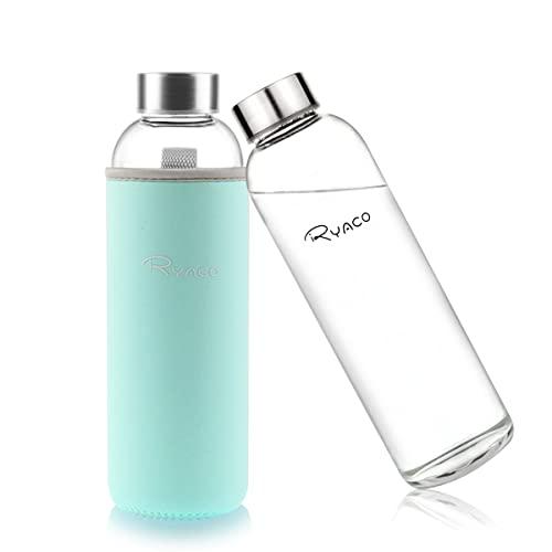 Ryaco Glasflasche Trinkflasche Classic Tragbare 550ml BPA-frei für unterwegs Sportflasche Glas Wasserflasche zum Mitnehmen von kalten Heiß Getränken mit Neopren Tasche und Schwammbürste (Minze Grüne)